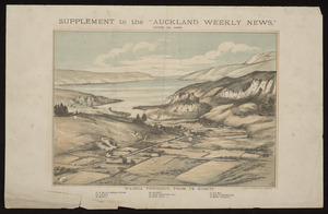 """P, C, fl 1886 :Wairoa township, from Te Komiti. Supplement to the """"Auckland weekly news"""", June 19, 1886. Wilson & Horton lith., Auckland"""