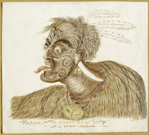 "Florance, Augustus H, 1812-1879 :""Tarra"", or the Maori Chief ""George"" at a war-dance. [Between 1856 and 1860?]"