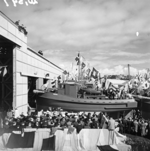 Official launching ceremony for eight motor tow-boats built in Auckland for United States armed forces