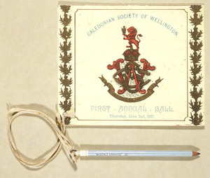 Caledonian Society of Wellington :First annual ball, Thursday, June 2nd, 1887. [Programme cover]. 1887.