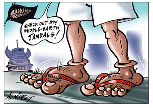 Nisbet, Alastair, 1958- :'Check out my Middle-earth jandals!' 29 November 2012