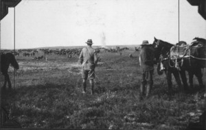 Colonel Findlay watching bombs drop during the second Battle of Gaza, World War I