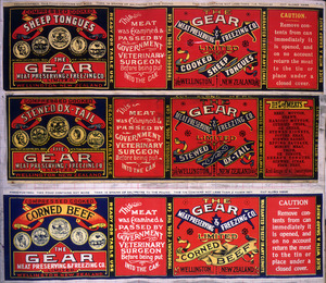 Gear Meat Company :[Three labels for Cooked sheep tongues; Stewed ox-tail; and, Corned beef]. Gear Meat Preserving & Freezing Company of New Zealand, Wellington New Zealand. [1890-1920].