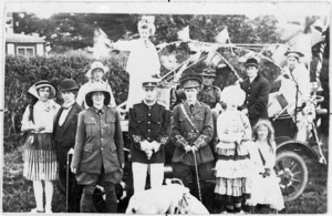Group in fancy dress during an event to mark the end of World War 1, Manaia