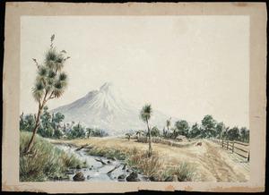Clark, R, fl 1880s? :[Mount Taranaki with settler's house. 1880s?]