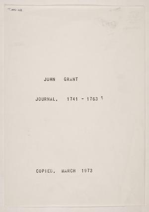 Grant, John b 1741 : Journal