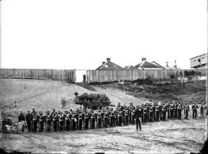 Soldiers from the 18th Royal Irish Regiment at Rutland Stockade, Wanganui