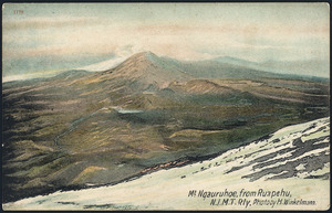 Postcard. Mt Ngauruhoe, from Ruapehu, N.I.M.T Rly. Photo by H Winkelmann. F T series no. 1179. Printed in England