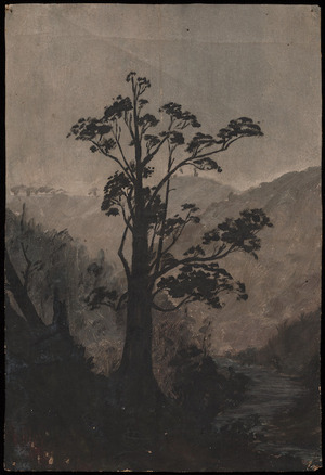 Lysaght, Sophie Augusta, d 1949? :Tree on Tongahoe River across river going up the hill to Mokoia from Hawera after crossing the old bridge.
