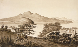Hoyte, John Barr Clark, 1835-1913 :Mt Rangitoto from St George's Bay, Auckland [ca 1860]