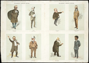 Hunt, Albert Vyvyan, 1854-1929 :Parliamentary character sketches. Supplement to the Auckland weekly news, Christmas number, December 12, 1896. Wilsons [sic] & Horton lith. Auckland [1896]