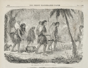 Artist unknown :New Zealand scenes; exodus of Maories. Penny Illustrated paper, Nov. 7, 1868, page 292