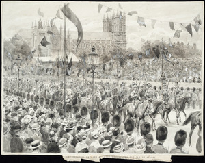 Dadd, Frank, 1851-1929 :The Colonial Cavalry escort passing down Parliament Street. Drawn by Frank Dadd, R.L. Aug. 13 /[19[02.