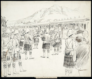 Jones, G K, fl 1899 :Cape Town's farewell to the New Zealand contingent. 22 Dec[ember 18]99.