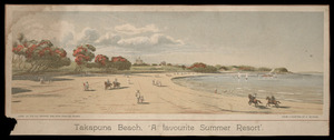Watkins, Kennett, 1847-1933 :Takapuna Beach, 'a favourite summer resort'. Litho. at the N.Z. Graphic and Star Printing Works, from a painting by K Watkins. 1894.