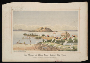 """Ryan, Thomas, 1864-1927 :Lake Rotorua and Mokoia Island, Auckland, New Zealand. Illustrating story entitled """"The way of our grandfathers"""". Litho. at the N.Z. Graphic and Star Printing Works, from a painting by T Ryan [1893]"""