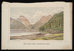 Wilson, Laurence William, 181-1912 :Head of Lake Te Anau, Southland, New Zealand. Litho. at the N.Z. Graphic and Star Printing Works, from a painting by L W Wilson [1893]