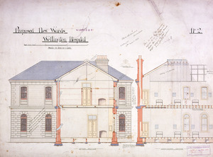 Clere Fitzgerald & Richmond :Proposed new wards Wellington Hospital. Wards 5 & 6. March 1893. F. de J. Clere and J. S. Swan