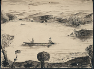 Carbery, Andrew Thomas H 1836-1870 :[Carbery hunting from a canoe on the Waikato River near Meremere, 1864?]