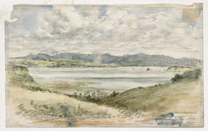 [Warre, Henry James]?, 1818-1898 :Auckland, 1 January 1866. View of the Waikerei Hills, N. Shore.