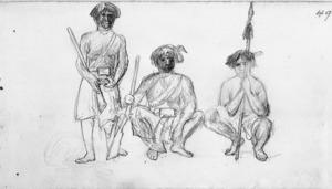 Warre, Henry James, 1819-1898 :[Three Maori soldiers. Nov 1864]