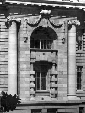[A corner of the back elevation, Parliament Buildings]
