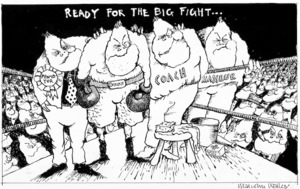 Walker, Malcolm 1950- :Ready for the big fight... New Zealand Herald. 1984.