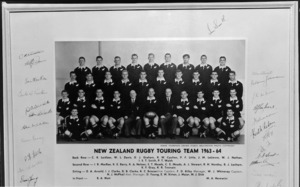 All Blacks, New Zealand representative rugby union touring team 1963 - 1964 with autographs