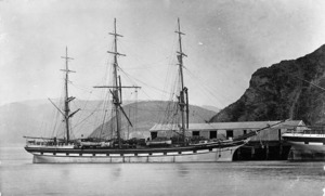 Sailing ship Trevelyan berthed at Port Chalmers