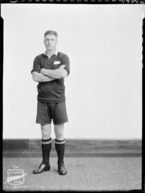 M J Brownlie, Captain of the All Blacks, New Zealand representative rugby union team, tour of South Africa, 1928