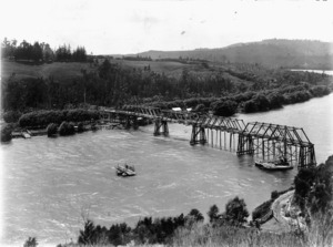 Overlooking the Waikato River, and Tuakau bridge under construction