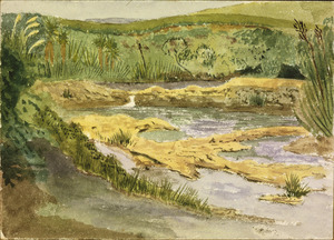 Hands, Alfred Watson, 1849-1927 :Rocks at head of the Waitemata, west of Riverhead. 1887