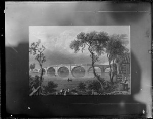 Copy photograph of a print showing river scene, including large stone bridge and people in boats, by unknown artist, taken during Williams' European trip
