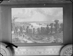 Copy photograph of a print showing an [English?] country scene, by an unknown artist, a ruler is underneath the image and it was taken during Williams' trip to Europe