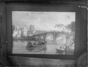 Copy photograph of a print showing town and river scene, including stone buildings, large stone bridge and people on barges, by unidentified artist, also showing ruler underneath image and taken during Williams' European trip