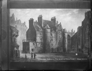 Copy of a photograph by W B & Sons of a painting of Edinburgh Tolbooth (The Heart of Midlothian) in the Knox Series, of an Edinburgh High Street scene, Scotland, taken during Williams' European trip