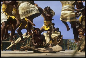 Bellona (Solomon Islands) men jumping at Utulei during the 10th Festival of Pacific Arts, American Samoa