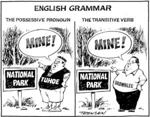 "English grammar - ""Mine!"" - the possessive pronoun, the transitive verb. 24 May 2010"