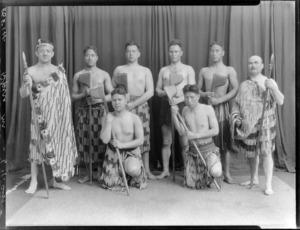 Unidentified group of men in Maori clothing, may include wrestler Mr Kara Pasha