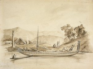 [Downes, Thomas William] 1868-1938 :Canoe with two topsides on Whanganui River [1840s. 1914?]