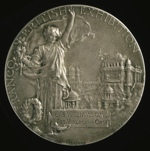 P Vaughton & Sons (Birmingham) :[Silver medal for violin & case, awarded at Franco-British Exhibition, London, 1908. Reverse].