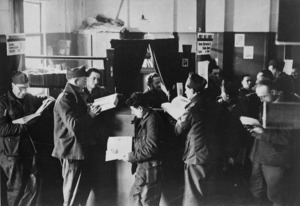 Prisoners of war in the library at Stalag 4B, Muhlberg, Germany