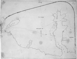 Mantell, Walter Baldock Durrant 1820-1895 :[Map of Akaroa and Banks Peninsula west to Peraki, Lake Forsyth (Wairewa) and Lake Ellesmere (Waihora). 1848]