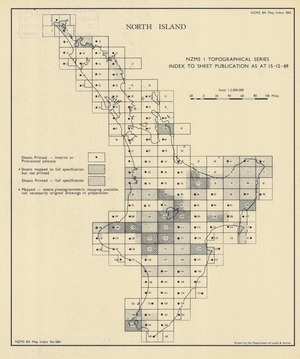 NZMS 1 topographical series index to sheet publication as at 15-12-69. North Island [electronic resource] / drawn by the Department of Lands & Survey.