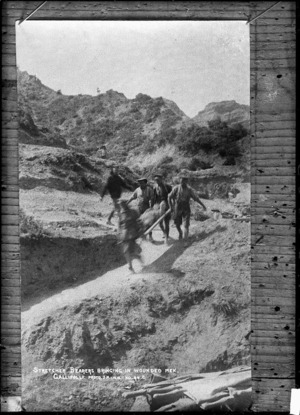 Stretcher bearers bringing in wounded men at Gallipoli, Turkey, during World War I - Photograph taken by J M