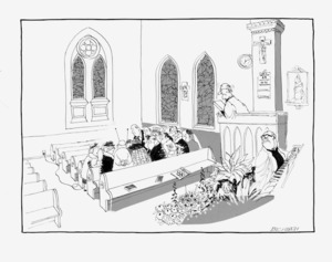 Heath, Eric Walmsley 1923-:[Distracted church congregation] The Dominion, 19 July 1976.