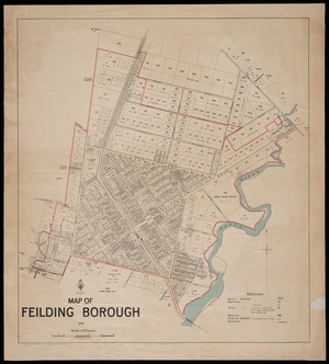 Map of Feilding borough [cartographic material] / B.A. Broadhead, delt. ; T. Brook, Chief Surveyor.