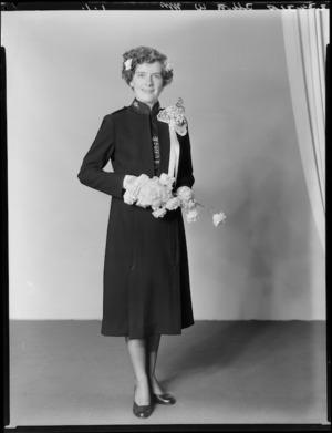Unidentified bride in Salvation Army uniform, probably Allott family wedding