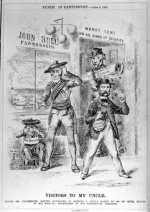 Artist unknown :Visitors to my uncle; young Mr Canterbury, having succeeded in getting a little money to go on with, exults in his wealth, regardless of his neighbours' feelings. Punch in Canterbury, June 3, 1865.