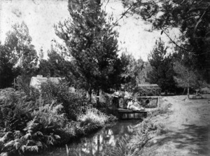 Grounds of the Spa Hotel in Taupo, showing four women